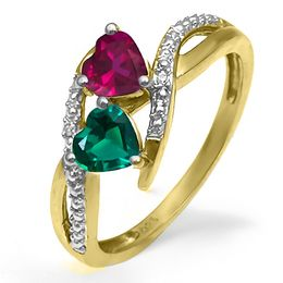Mother's Heart-Shaped Birthstone and Diamond Accent Split Shank Ring (1-4 Stones)