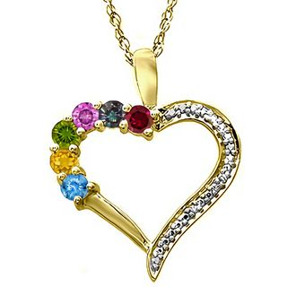 Mother S Birthstone And Diamond Accent Family Heart