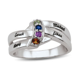 Mother's Birthstone Cascading Wave Double Shank Ring (2-4 Stones and Names)