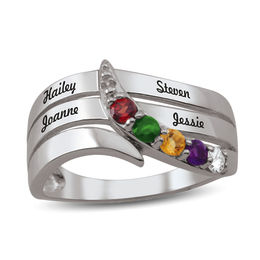 Mother's Birthstone Bypass Multi-Row Overlay Ring (2-5 Stones and Names)