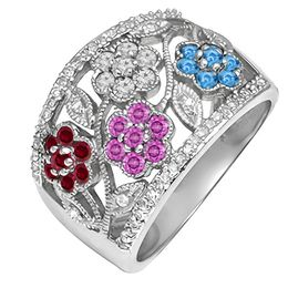 Mother's Birthstone and Diamond Accent Flower Ring (4 Stones)