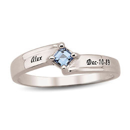 Couple's Princess-Cut Birthstone Stackable Ring (1 Stone and 2 Names)
