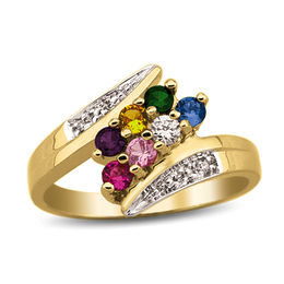Mother's Birthstone and Diamond Accent Double Row Bypass Ring (2-8 Stones)