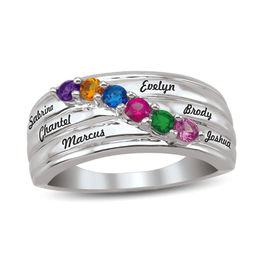 Mother's Birthstone Slant Multi-Row Ring (2-6 Stones and Names)