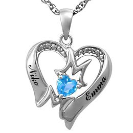 "Mother's 4.0mm Birthstone and Diamond Accent ""MOM"" Heart Pendant (1 Stone and 2 Lines)"