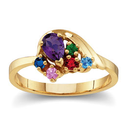 Mother's Birthstone Large Wave Ring (3-9 Stones)