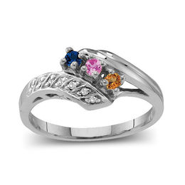 Mother's Birthstone and Diamond Accent Twist Shank Bypass Ring (2-7 Stones)