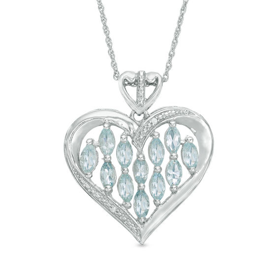 Marquise aquamarine and diamond accent heart pendant in 10k white marquise aquamarine and diamond accent heart pendant in 10k white gold aloadofball Image collections