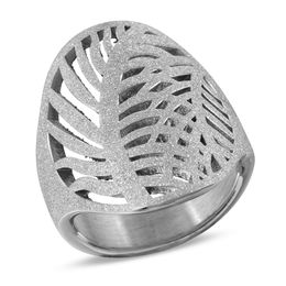 Diamond-Cut Leaf Ring in Stainless Steel - Size 7