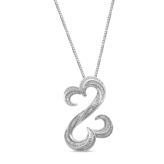 Zales 1/6 CT. T.w. Diamond Bar and Chain Drop Pendant in Sterling Silver XByQebl