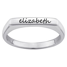 Stackable Bar Name Ring in Sterling Silver (1 Name)