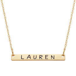 Mini Bar Name Necklace in 10K Gold (1 Line)