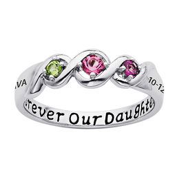Daughter's Simulated Birthstone Ring in Sterling Silver with Platinum Plating (3 Stones, 1 Name and Date)