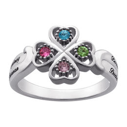 Mother's Simulated Birthstone Four Leaf Clover Ring in Sterling Silver (1-4 Stones and Names)