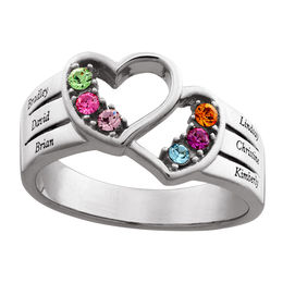Mother's Simulated Birthstone Multi-Row Double Heart Ring in Sterling Silver (2-6 Stones and Names)