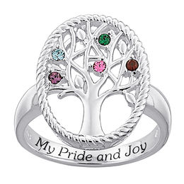 "Mother's Simulated Birthstone ""My Pride and Joy"" Family Tree Ring in Sterling Silver (1-7 Stones)"