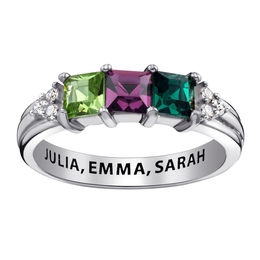 Mother's Princess-Cut Simulated Birthstone and Cubic Zirconia Tri-Sides Ring in Sterling Silver (3 Stones and 1 Line)