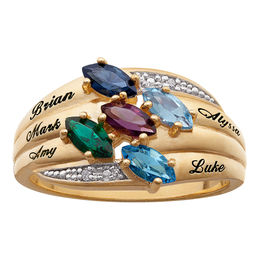 Mother's Simulated Birthstone and Diamond Accent Ring in Sterling Silver with 18K Gold Plate (2-6 Stones and Names)