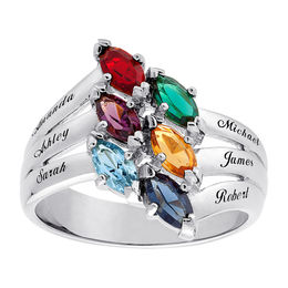 Mother's Marquise Simulated Birthstone Ring in 10K White Gold (2-7 Stones and Names)
