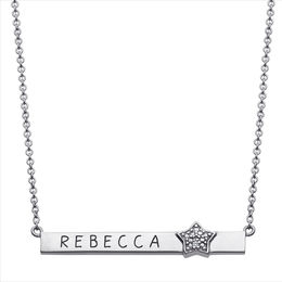 Name with Diamond Accent Star Bar Necklace in Sterling Silver (8 Characters) - 16.5""