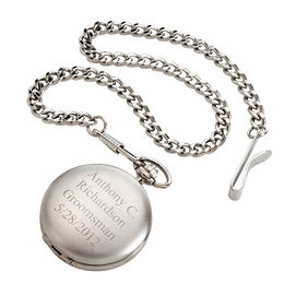 Men's Engravable Brushed Silver-Tone Pocket Watch with Chain (4 Lines)