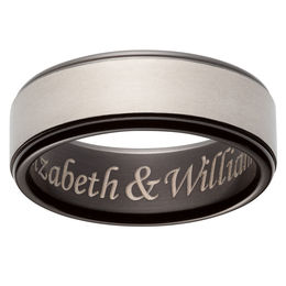 Men's 7.0mm Engravable Wedding Band in Two-Tone Titanium (1 Line)