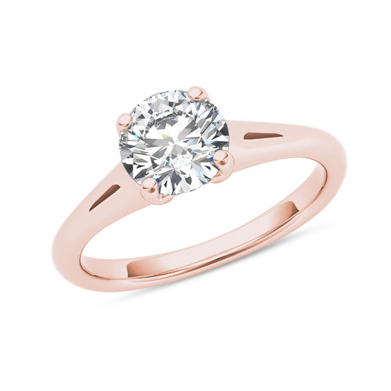 1 CT Diamond Solitaire Engagement Ring in 14K Rose Gold