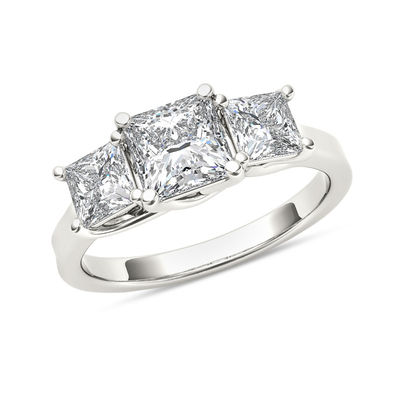 2 Ct T W Princess Cut Diamond Three Stone Engagement Ring In 14k White Gold Zales