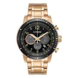 Men's Citizen Eco-Drive® Brycen Chronograph Rose-Tone Watch with Black Dial (Model: CA4359-55E)