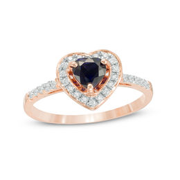 5.0mm Lab-Created Blue Sapphire and 1/6 CT. T.W. Diamond Heart Frame Engagement Ring in 10K Rose Gold