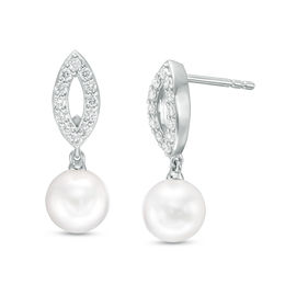 Zales 9.0mm Cultured Freshwater Pearl and Baguette Lab-Created White Sapphire Stud Earrings in 10K Gold 2p8lf