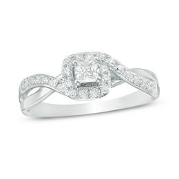 1/2 CT. T.W. Princess-Cut Diamond Swirl Bypass Frame Engagement Ring in 14K White Gold