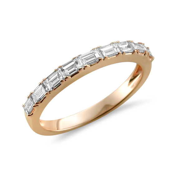 1 2 CT T W Baguette Diamond Wedding Band in 14K Rose Gold H VS2