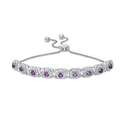 Amethyst and 1/10 CT. T.W. Diamond Frame Bolo Bracelet in Sterling Silver - 9.5""