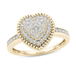 1/4 CT. T.W. Composite Diamond Heart-Shaped Rope Frame Ring in 10K Gold