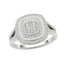 1/2 CT. T.W. Composite Diamond Vintage-Style Double Cushion Frame Ring in 10K White Gold