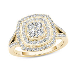 1/2 CT. T.W. Composite Diamond Vintage-Style Double Cushion Frame Ring in 10K Gold