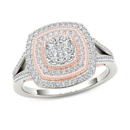 1/2 CT. T.W. Composite Diamond Vintage-Style Double Cushion Frame Ring in 10K Two-Tone Gold