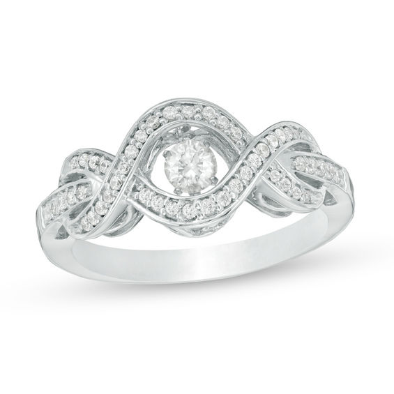 Zales Multi-Shaped Lab-Created White Sapphire Bypass Wrap Ring in Sterling Silver 2LSemOFLMN