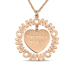 "Mother's Engravable Repeating ""MOM"" Frame Heart Dangle Pendant in 14K Rose Gold (1-3 Names)"