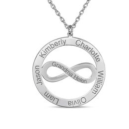Mother's Sideways Infinity Circle Pendant in 14K White Gold (6 Names and 1 Line)