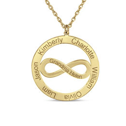 Mother's Sideways Infinity Circle Pendant in 14K Gold (6 Names and 1 Line)