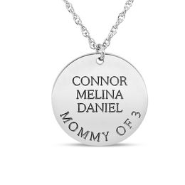 Mother's Engravable Disc Pendant in 14K White Gold (1-3 Names and 1 Line)