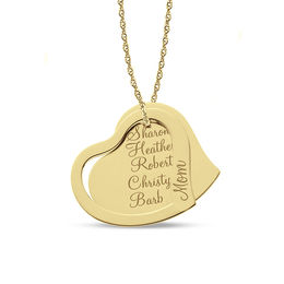 "Tilted Double Heart ""Mom"" Pendant in 10K Gold (1-5 Names)"