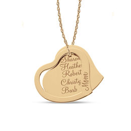 "Tilted Double Heart ""Mom"" Pendant in 14K Rose Gold (1-5 Names)"