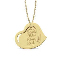 "Tilted Double Heart ""Mom"" Pendant in 14K Gold (1-5 Names)"