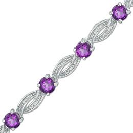 5.5mm Amethyst and 1/5 CT. T.W. Diamond Braid Bracelet in Sterling Silver - 7.25""