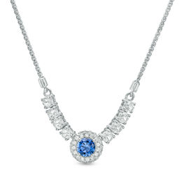 5.0mm Lab-Created Blue and White Sapphire Frame Bolo Necklace in Sterling Silver - 26""