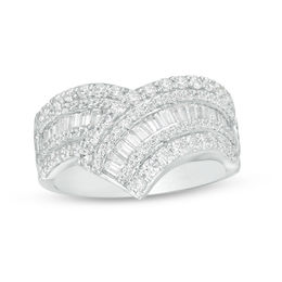 1 CT. T.W. Baguette and Round Diamond Chevron Ring in 10K White Gold