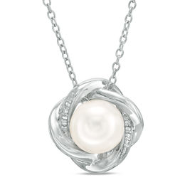 8.0mm Cultured Freshwater Pearl and Lab-Created White Sapphire Love Knot Pendant in Sterling Silver